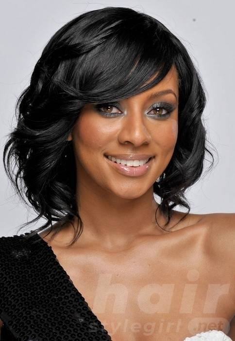 Keri Hilson Medium Length Black Curly Hairstyle for Prom 2014
