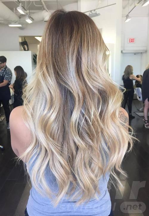 Blonde Balayage Long Wavy Hairstyle