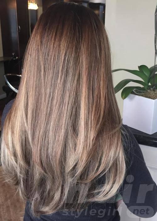 Light Brown Balayage Long Straight Hair