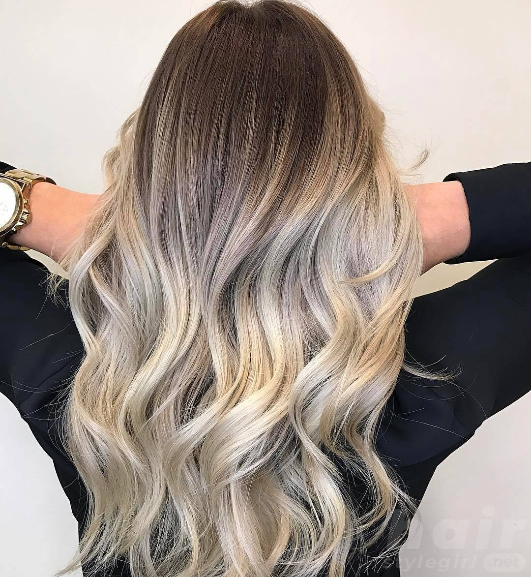 Blonde and white Balayage Hairstyle