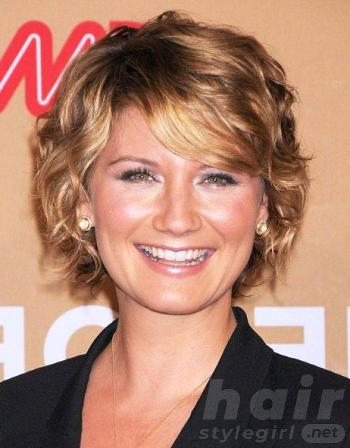 Curly Blonde Hair with Side Swept Bangs