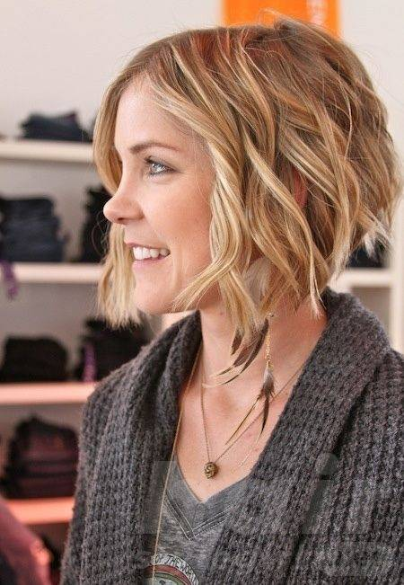 Blond Short Wavy Inverted Bob Hairstyle