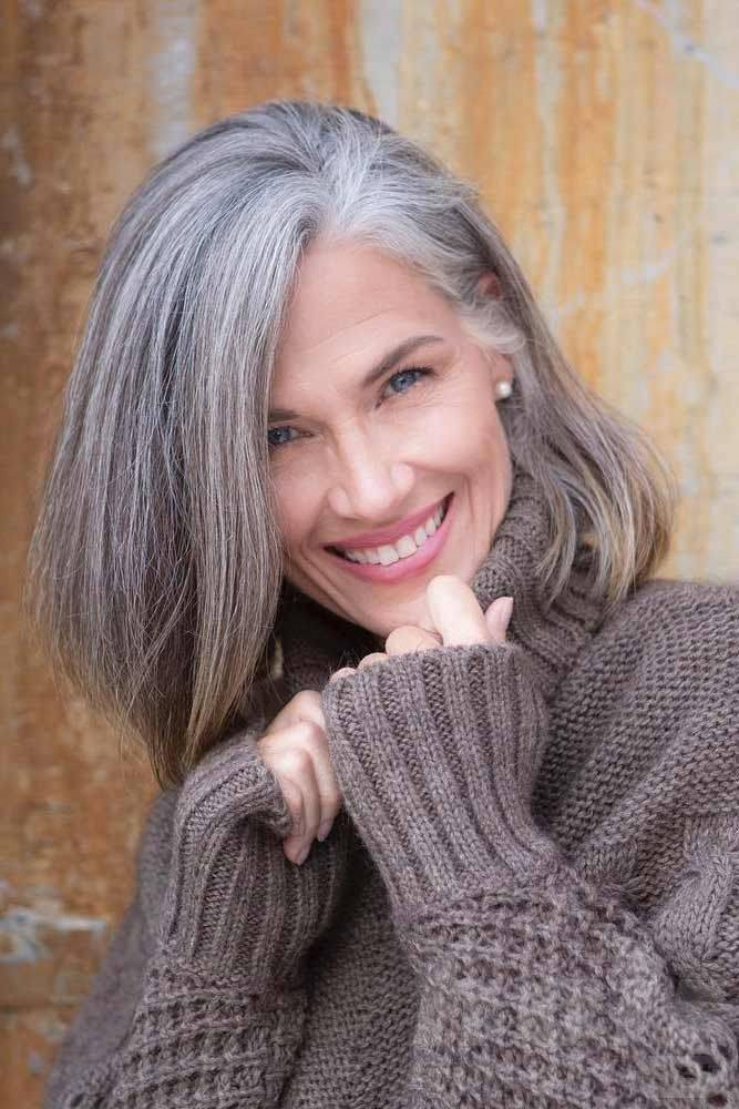 Side Swept Grey Long Bob