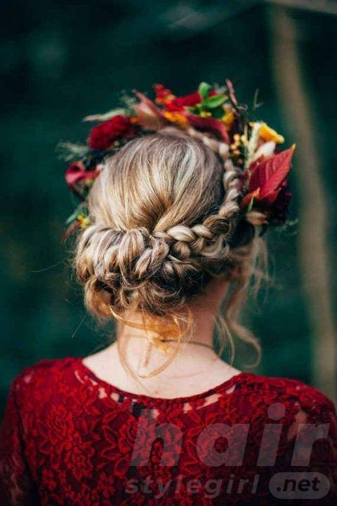 Boho Braided Updo with Fall Blooms and Leaves