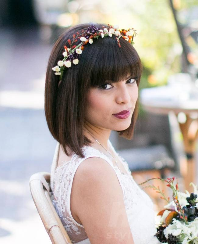 Bridal Bob Hair with Flower Crown