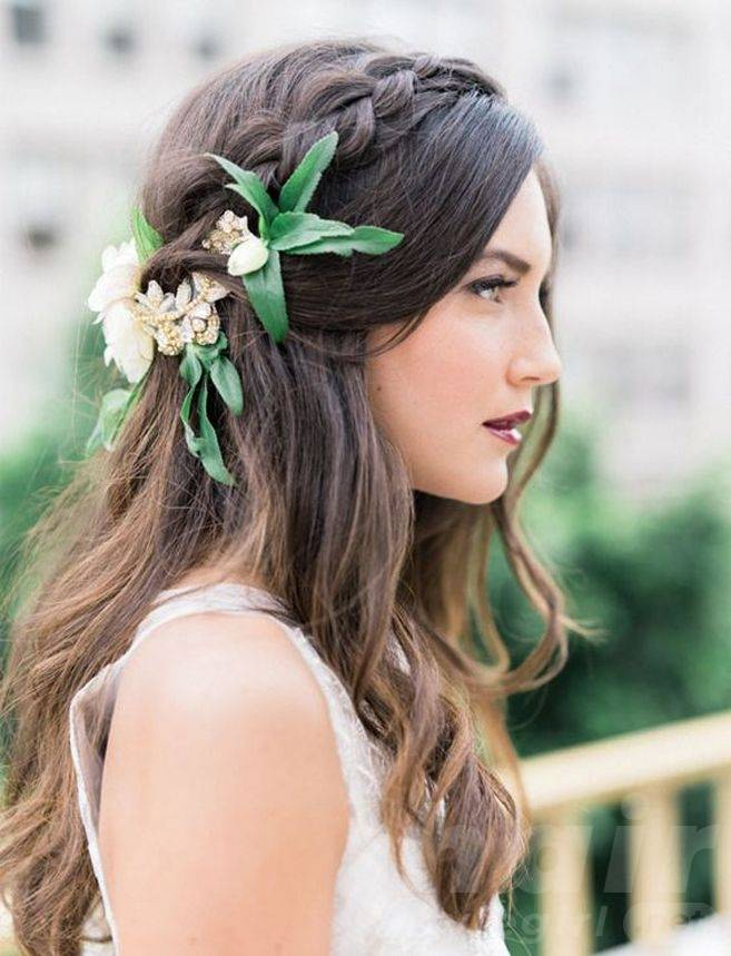Loosely Braided Hairdo with Flowers