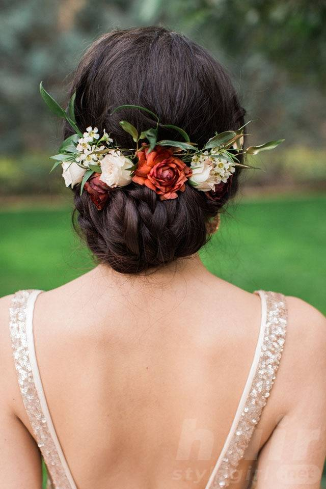 Low Bun Updo with Rusty Flower