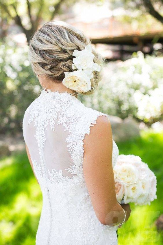 Side Swept Braided Updo with White Blooms