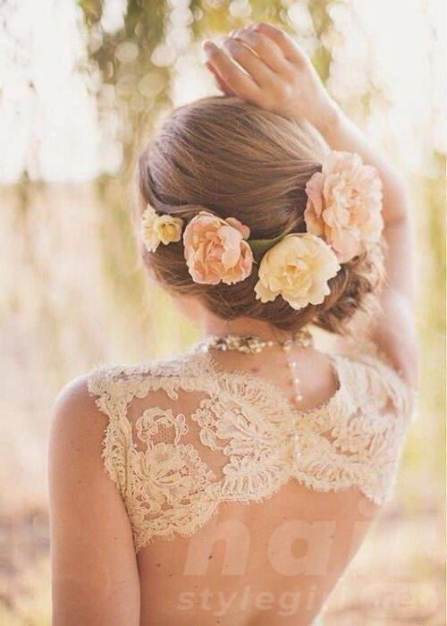 Twisted Updo with Fresh Flowers