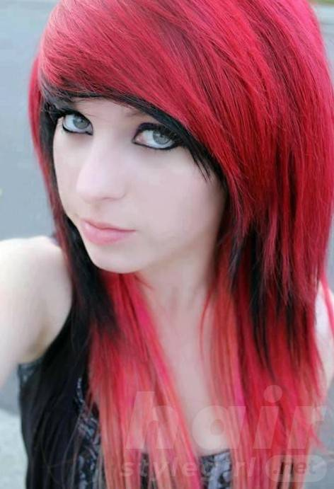 Best Red Black Emo Hairstyle for Emo Girls