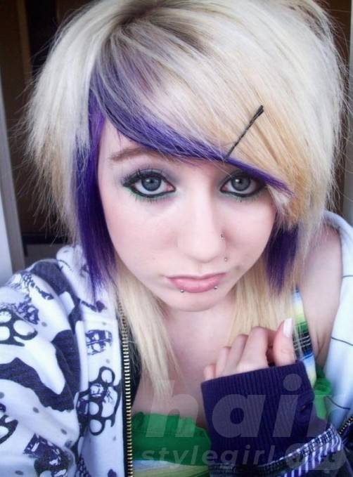 2014 Cute Blonde Purple Emo Hairstyle for Emo Girls