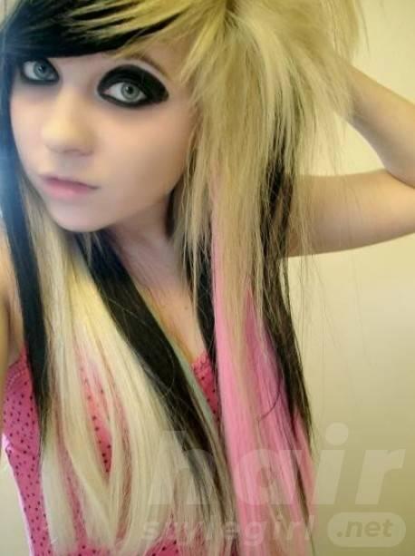 Emo Girls Long Blonde Sleek Hairstyle 2014