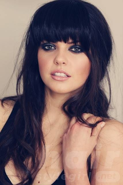 Black Long Straight Hairstyle with Bangs