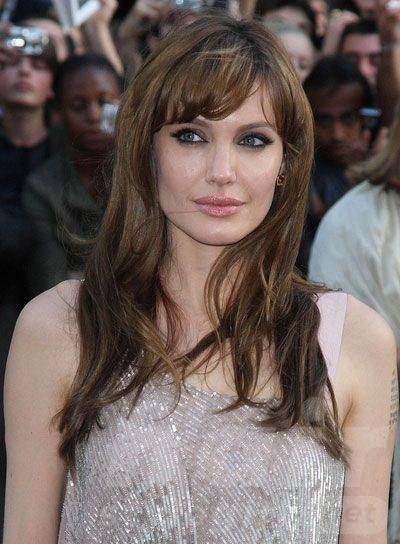 Brown Long Wavy Hairstyle with Side Bangs
