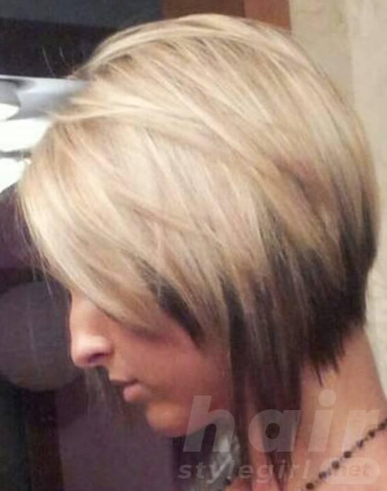 Creative graduated bob hair cut and partial highlight