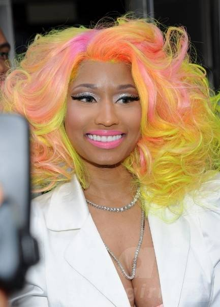Nicki Minaj Curly Hairstyle with Bright Colors