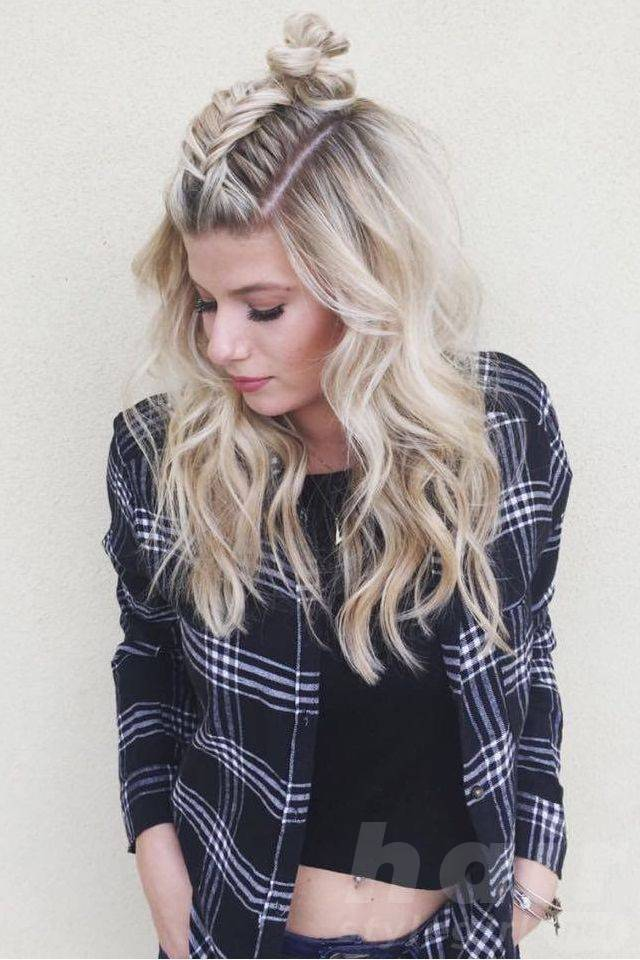 blond-curls-with-french-fishtail-bun