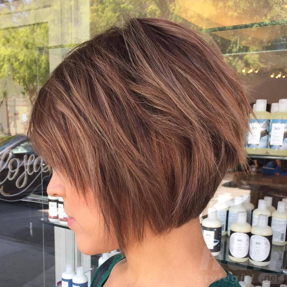 Inverted Bob with Light Brown Hair Color