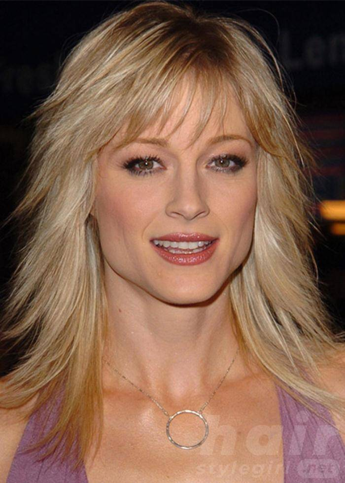 Long Blonde Choppy Hair with Bangs