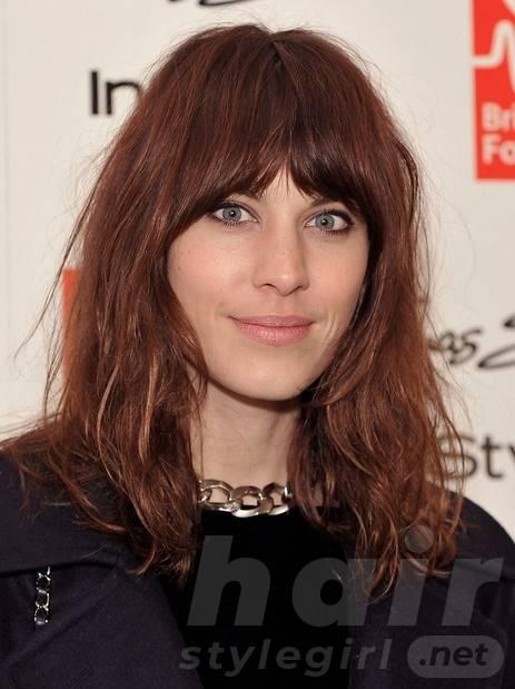 2014 Alexa Chung Hairstyles: Brown Medium Hair