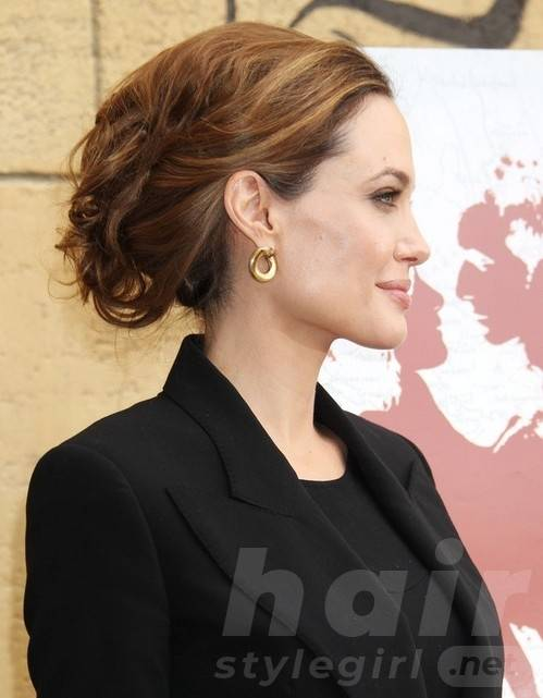 2014 Angelina Jolie Hairstyles: Formal Messy Updo Hair Style