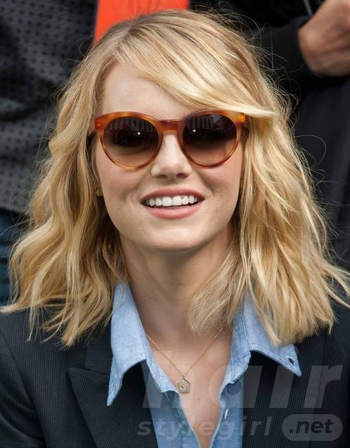2014 Emma Stone Hairstyles: Blunt Layered Hairstyles for Medium Hair