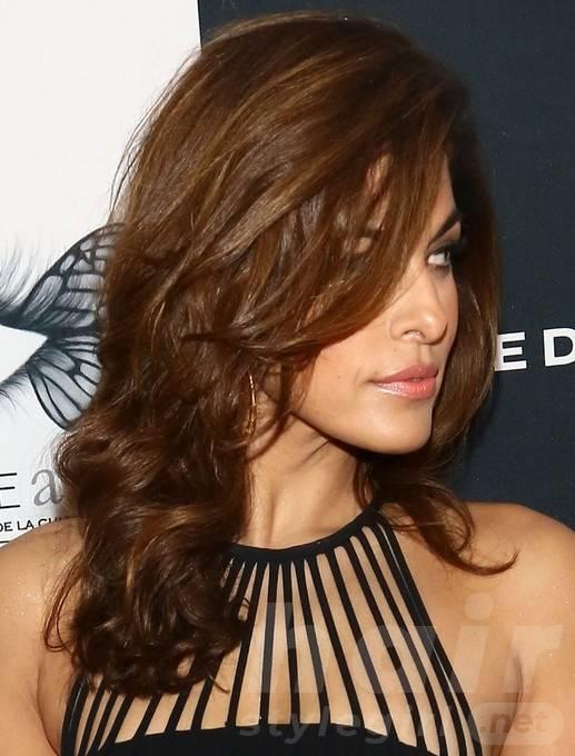 2014 Eva Mendes Hairstyles: Brown Long Hair