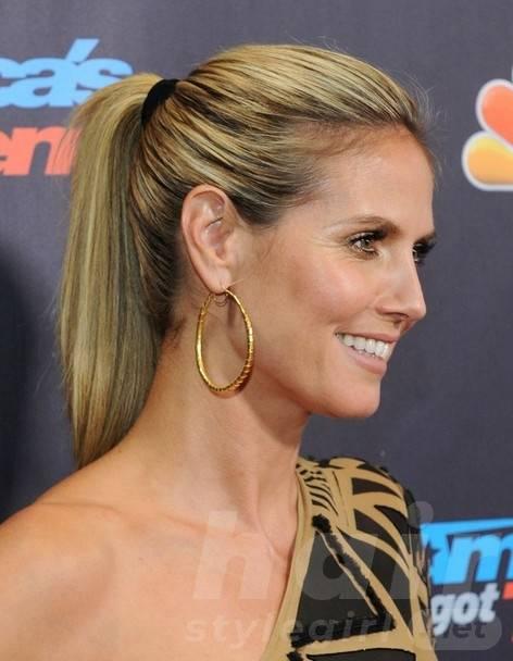 2014 Heidi Klum Hairstyles: High Ponytail Hairstyle for Long Straight Hair