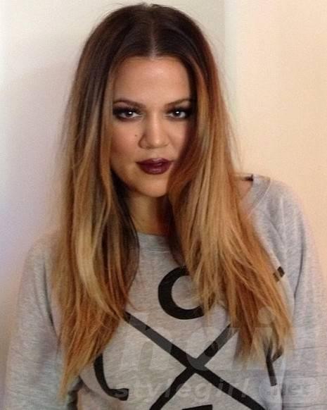 2014 Khloe Kardashian Hairstyles: Center Part Hairstyle for Long Hair