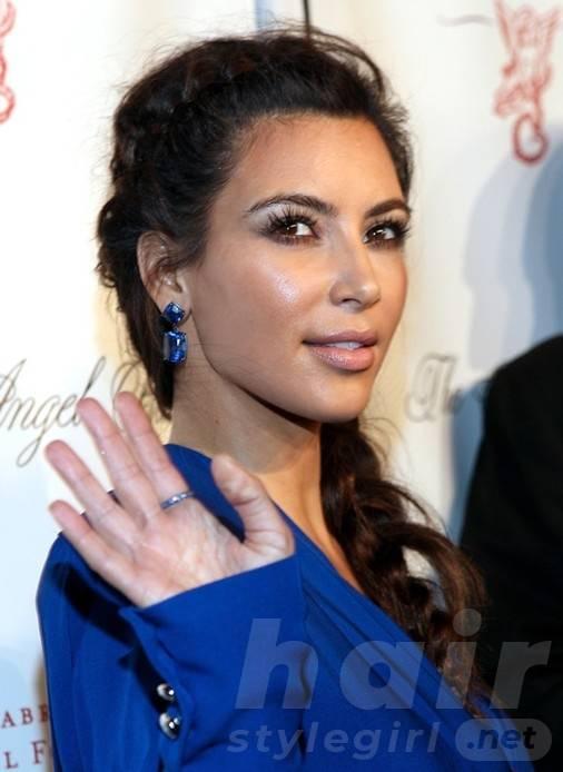 2014 Kim Kardashian Hairstyles: Braided Long Hair