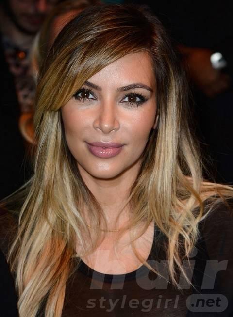 Kim Kardashian Hairstyles: 2014 Ombre Layered Haircut