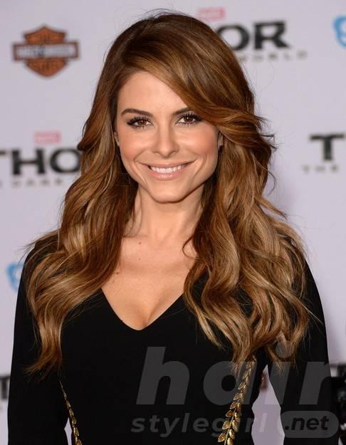 2014 Maria Menounos Long Hairstyles: Brown Soft Wavy Hair
