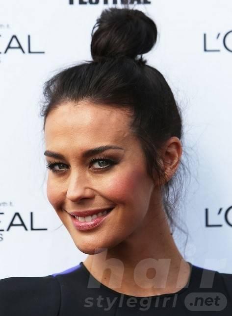 2014 Megan Gale Hairstyles: Simple Bun Updos