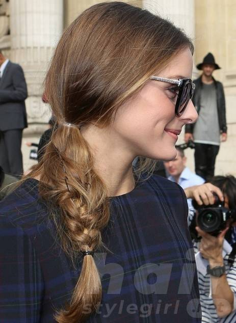 2014 Olivia Palermo Long Hairstyles: Low Side Braid Ponytail