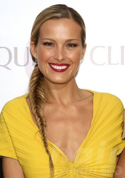 2014 Petra Nemcova Long Hairstyles: Fishtail Braid