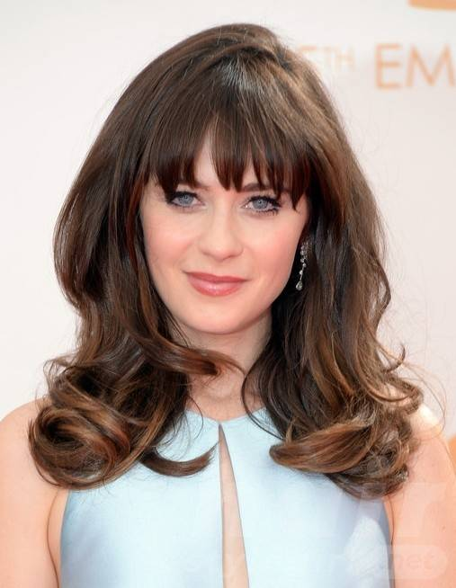 2014 Zooey Deschanel Hairstyles: Long Hairstyle with Bangs