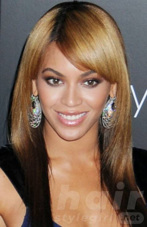 Beyonce Hairstyles: Ombre Long Straight Haircut with Bangs