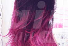 Black to Pink Ombre Hairstyle for Long Hair