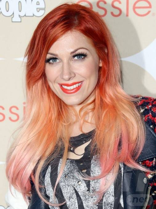 Bonnie McKee Red Long Hairstyles: Ombre Straight Hairstyle