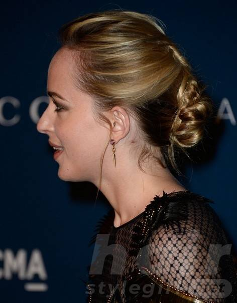 Dakota Johnson Long Hairstyles: Chic Updo for 2014