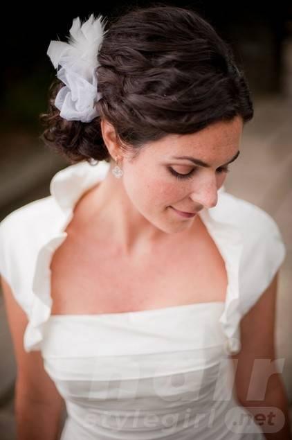 Elegant Wedding Updo Hairstyle with Decorative White Net