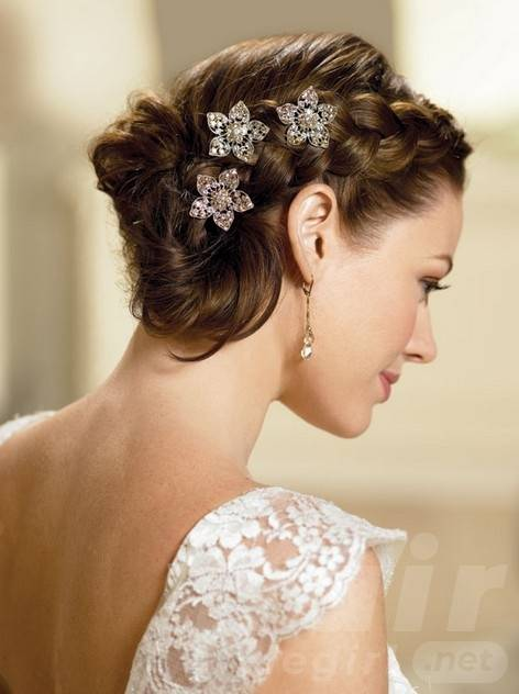 Elegant Wedding Updo Hairstyle with Flowery Clips