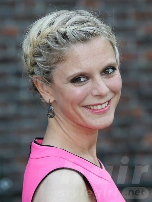 Emilia Fox Long Hairstyles: 2014 Updo Hairstyle with Braided Bangs