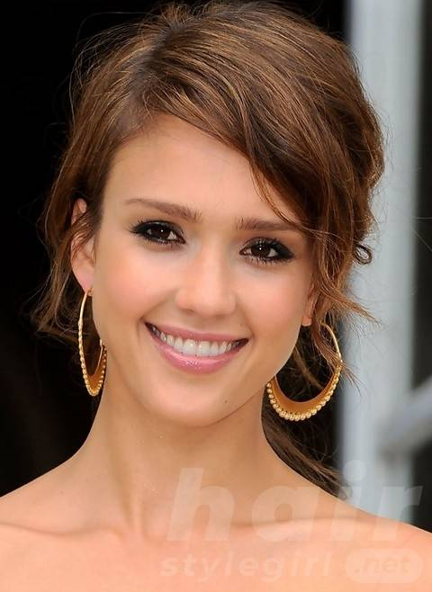 Jessica Alba Long Hairstyles: Sassy Messy Updo for Ladies