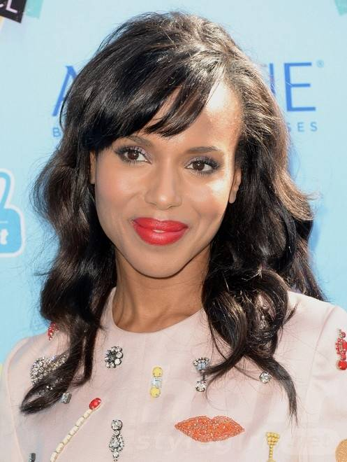 Kerry Washington Long Hairstyles 2014: Black Curly Hair