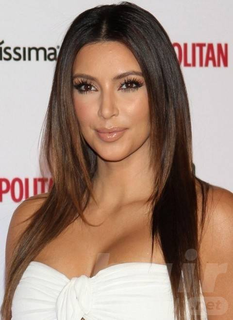 Kim Kardashian Hairstyles: Center-parted Layered Haircut