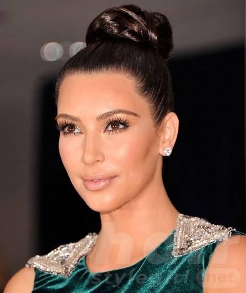 Kim Kardashian Hairstyles: Elegant Braided Bun