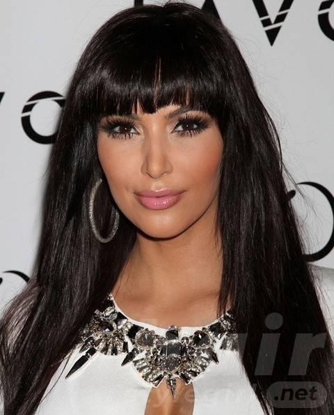 Kim Kardashian Long Hairstyles: Cute Straight Haircut with Blunt Bangs