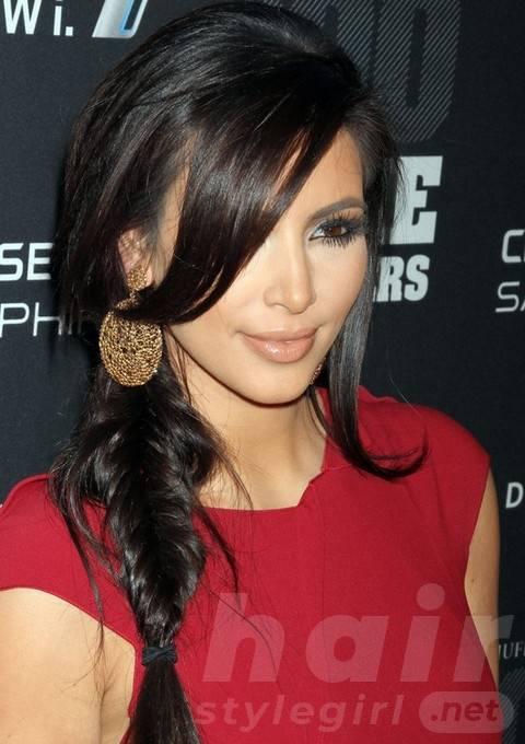 Kim Kardashian Long Hairstyles: Sassy Briaded Hairstyle
