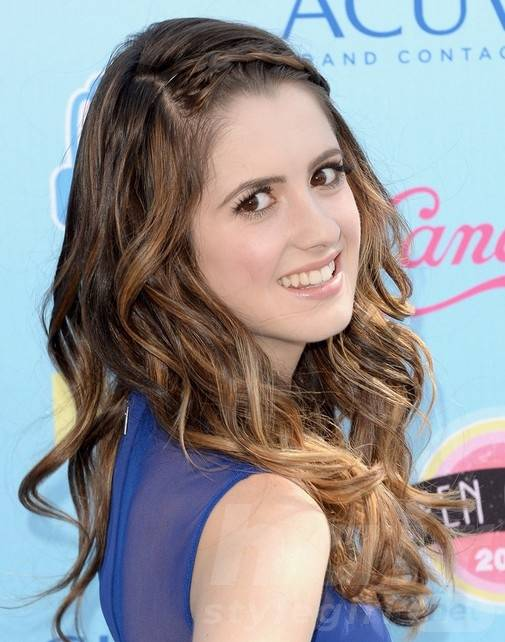 Laura Marano Long Hairstyles 2014: Layered Wavy Hairstyles with Braided Bangs